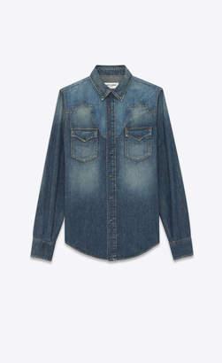 Saint Laurent Western Shirts Western-style Star Denim Shirt Dirty Medium Vintage Blue L