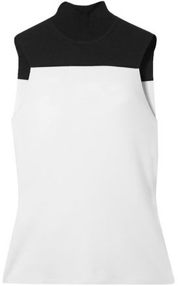 Narciso Rodriguez Two-tone Wool-blend Turtleneck Top