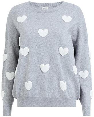 Yumi Grey Knitted Heart Jumper