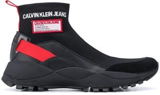 Calvin Klein Logo-Patch Sock Sneakers