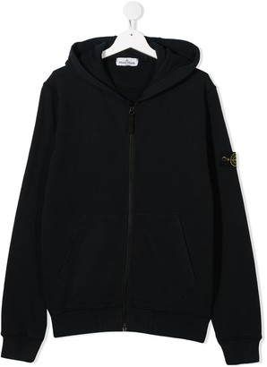 Stone Island Junior TEEN zipped logo patch hoodie