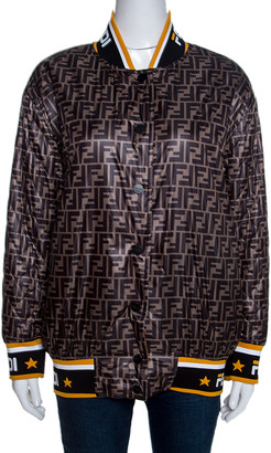 Fendi Black Logo Print Silk Reversible Quilted Bomber Jacket S