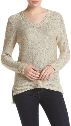 Jones New York Women's Sequin Yarn V-Neck Pullover