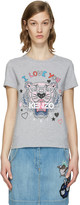 Kenzo Grey Valentines Tiger T-Shirt