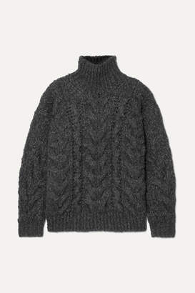 IRO Sirah Oversized Cable-knit Turtleneck Sweater - Charcoal