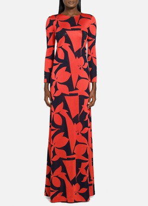 St. John Patio Floral Jacquard Knit Gown