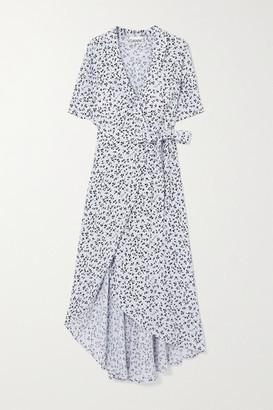 Ganni Floral-print Crepe Wrap Midi Dress