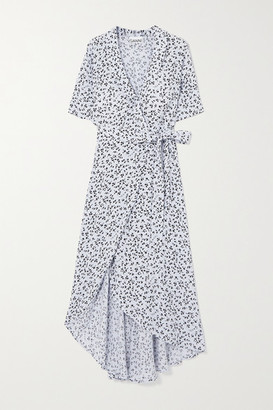 Ganni Floral-print Crepe Wrap Midi Dress - Light blue
