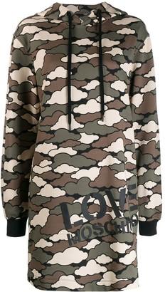 Love Moschino Camo-Cloud Print Hoodie-Dress