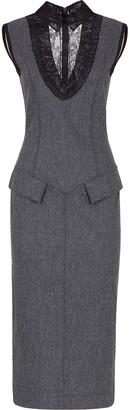Fendi Sleeveless Longuette Fitted Dress