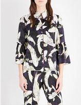 Erdem Hiro Pond-print silk-satin shirt