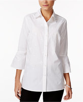 Charter Club Cotton Embroidered Bell-Sleeve Shirt, Only at Macy's