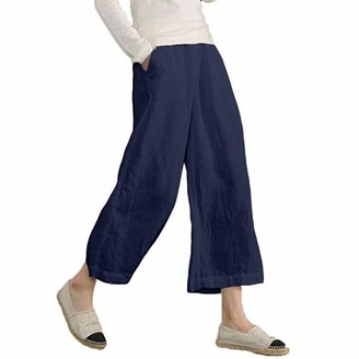 NEEDRA SALES Trousers Women's Elastic Waist Causal Loose Trousers Cropped Wide Leg Pants NY 2XL Navy
