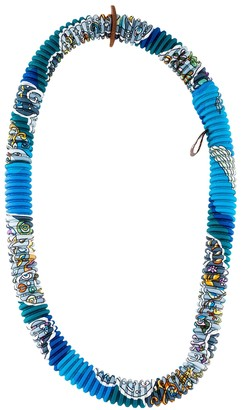 Hermã ̈S HermAs Petit H Blue Silk Necklaces