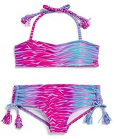 Billabong We Love the Wild Two-Piece Bandeau Swimsuit (Little Girls)