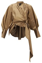 Petar Petrov Callula Silk Wrap Blouse - Womens - Bronze