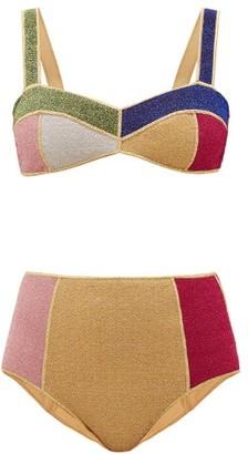 Oseree Lumiere High-rise Colour-block Metallic Bikini - Multi