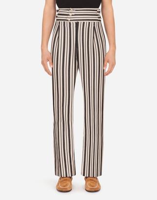 Dolce & Gabbana Striped Print Cotton Pants
