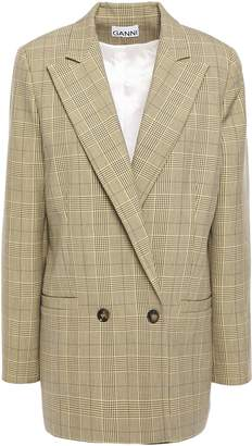 Ganni Double-breasted Prince Of Wales Checked Woven Blazer