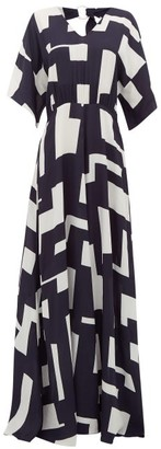 ODYSSEE Open-back Geometric-print Crepe Maxi Dress - Black Print