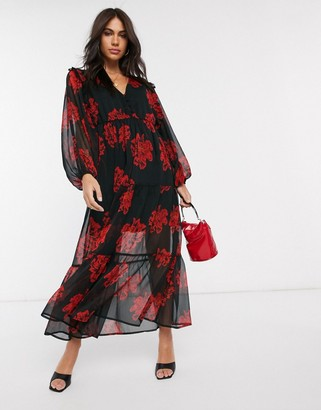 Neon Rose tiered maxi tea dress with balloon sleeves in bold floral