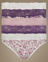 Marks and Spencer 5 Pack Cotton Rich Lace Waist High Leg Knickers with New & Improved Fabric