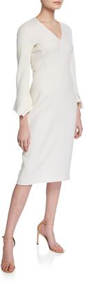 Lela Rose Fitted Handkerchief-Sleeve V-Neck Dress