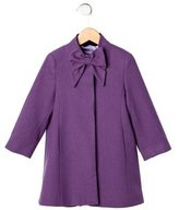 Oscar de la Renta Girls' Bow Wool Coat