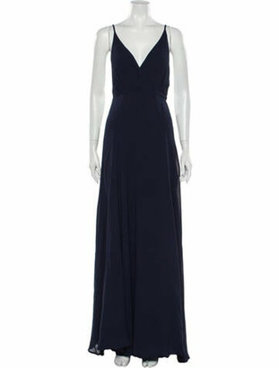 Reformation V-Neck Long Dress Blue