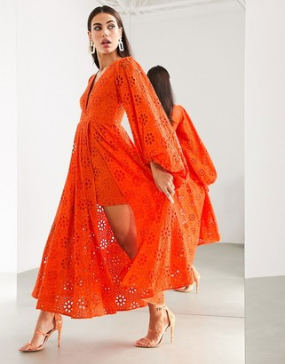 ASOS EDITION broderie midi dress with blouson sleeve in tomato red
