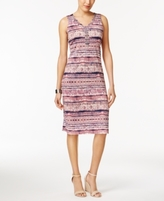 NY Collection Petite Printed Embellished Sheath Dress