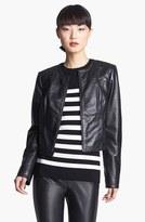 Nordstrom Miss Wu Zip Front Leather Jacket Exclusive)