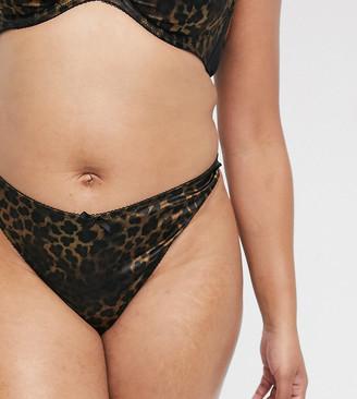 ASOS DESIGN Curve Mia thong with satin animal print & lace