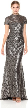 Carmen Marc Valvo Women's Mock Neck Lace Gown with Flaired Back Hem and Short Sleeve