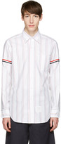 Thom Browne White Striped Grosgrain Classic Shirt