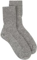 Johnstons of Elgin Ladies Ribbed Ankle Sock - Light Grey