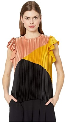 1 STATE Color-Block Pleated Flutter Sleeve Blouse (Rich Black) Women's Clothing