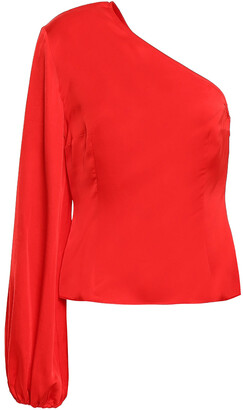 SOLACE London Careen One-shoulder Satin Top