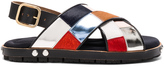 Marni Calf Hair & Leather Patchwork Sandals