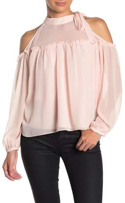 ENGLISH FACTORY Tie Neck Cold Shoulder Top