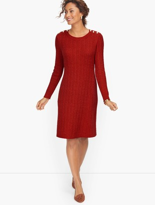 Talbots Cableknit Button Shoulder Sweater Dress