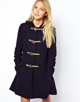 Asos Hooded Duffle Coat - Navy