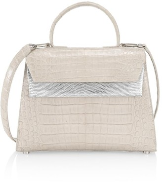 Nancy Gonzalez Small Liza Crocodile & Metallic Lizard Top Handle Bag