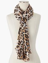 Talbots Fringed Animal-Print Scarf