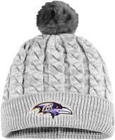 New Era Women's Gray Baltimore Ravens Paradigm Cuffed Knit Hat with Pom