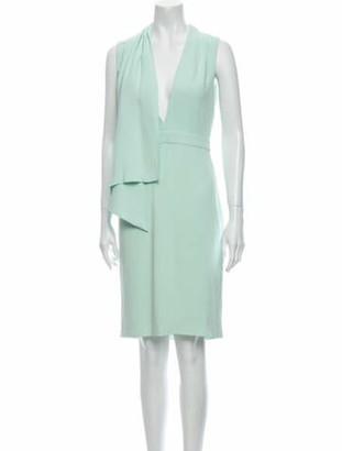 Cushnie V-Neck Knee-Length Dress Green