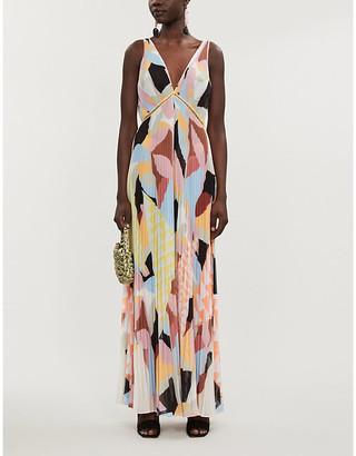 Self-Portrait Geometric-print woven maxi dress
