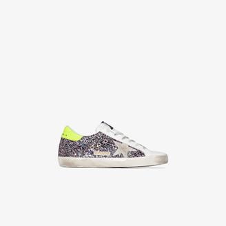 Golden Goose pink and grey Superstar glitter sneakers