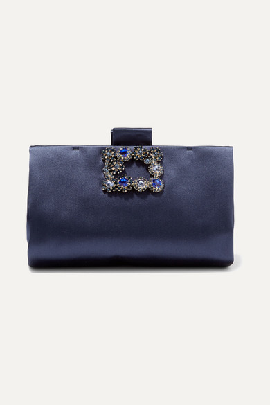 how to find super cheap compares to official Crystal-embellished Satin Clutch - Navy