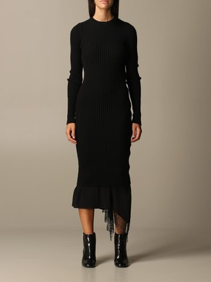 N°21 N 21 Dress Long Dress N ° 21 In Ribbed Knit And Lace